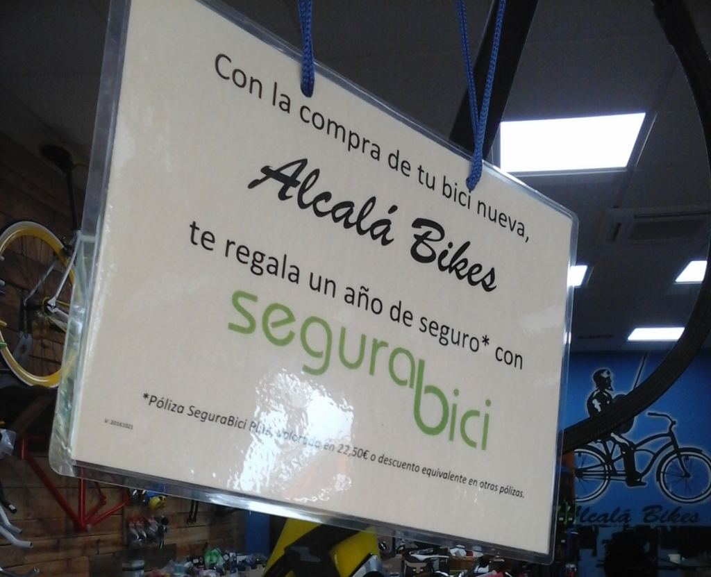 Con la compra de tu bici nueva Alcalá Bikes te regala un año de seguro con segurabici